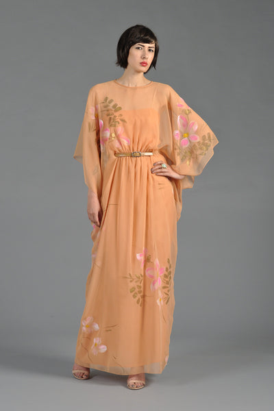 Malcolm Starr Hand Painted 1970s Chiffon Caftan