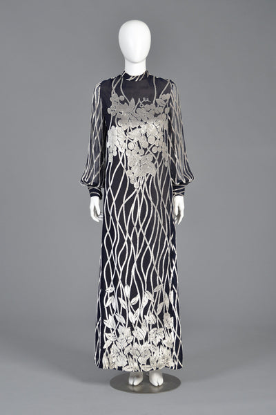Malcolm Starr 1970s Devoré Silk Maxi Dress With Grapes