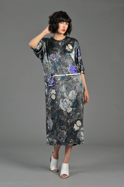 Max Mara Gunmetal Silk Floral Avant Garde Dress