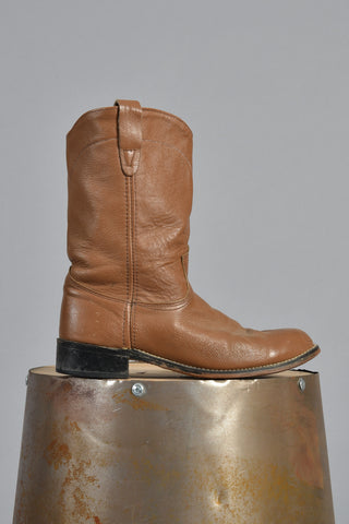 70s Brown Leather Western Work Boots 7