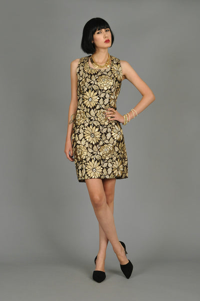 1960s Metallic Gold Brocade Cocktail Dress with Bow