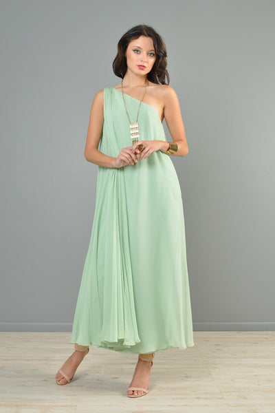 Mint Green 1960s One-Shouldered Silk Chiffon Gown