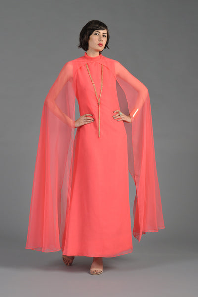 1970s Mollie Parnis Caped Chiffon Caftan