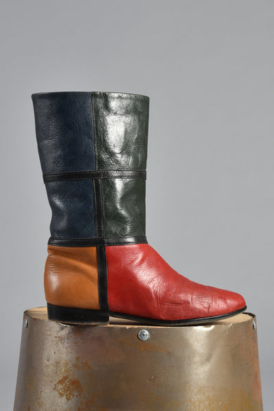 1980s Mondrian Colorblock Leather Boots 6.5