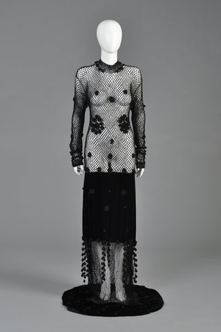 Moschino Crochet + Velvet Evening Gown w/Fringe