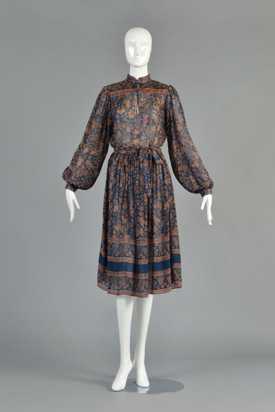70s Bohemian Indian Silk Dress w/Blouson Sleeves