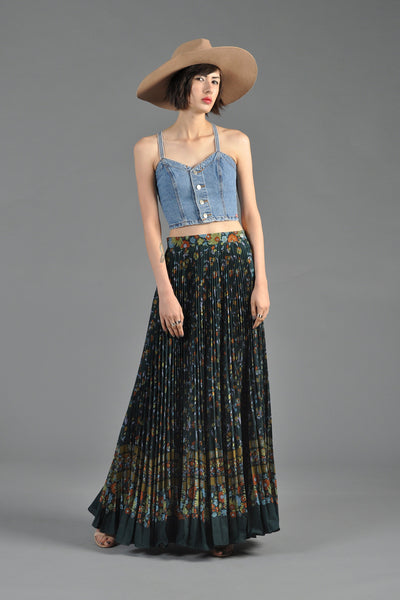 1970s Pleated Floral Maxi Skirt with High Waist
