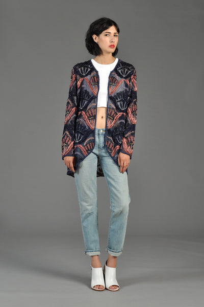 Sheer Silk Embroidered + Beaded Nouveau Jacket
