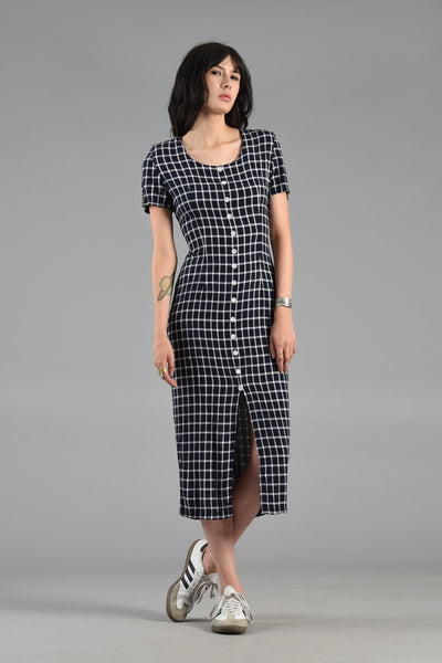 1980s Navy + White Fitted Grid Dress