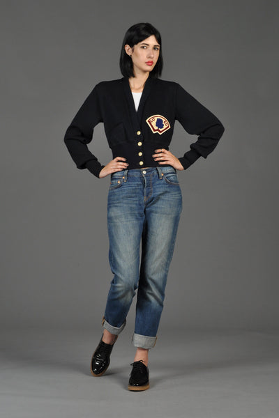 50s Broadway Knitting Mills Cropped Varsity Sweater
