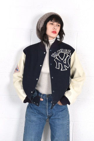 New York Yankees Leather & Wool Varsity Jacket