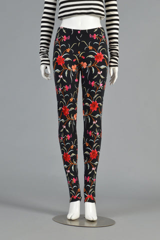 1980s Norma Kamali Floral Embroidered Pants
