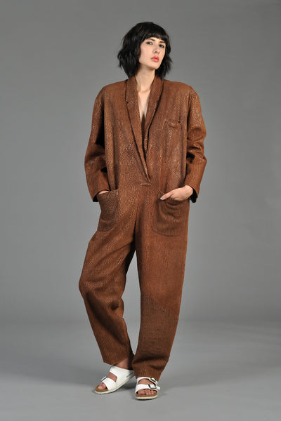 Norma Kamali Early OMO Reptile Patterned Leather Jumpsuit