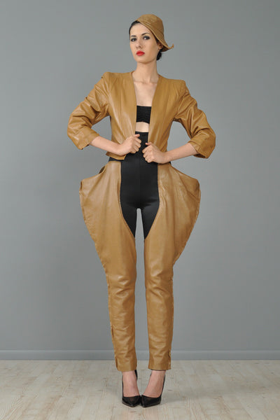 Norma Kamali 1979 Camel Leather 3 Piece Ensemble