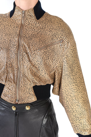 North Beach Leather Leopard Print Jacket