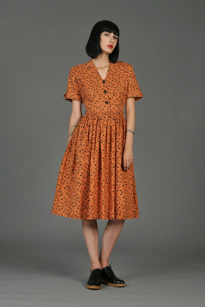 1950s Gold Digger Cotton Day Dress