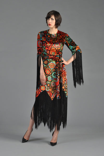 Graphic 1960s Scalloped Velvet Dress with Fringe