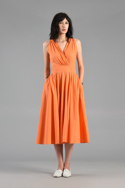 Tangerine Cotton Day Dress with Plunging Button Back