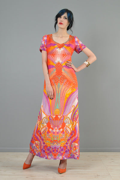 Psychedelic 1960s Ethnic Silk Maxi Gown