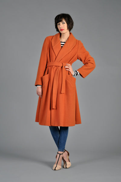 70s Orange Wool Belted Wrap Coat