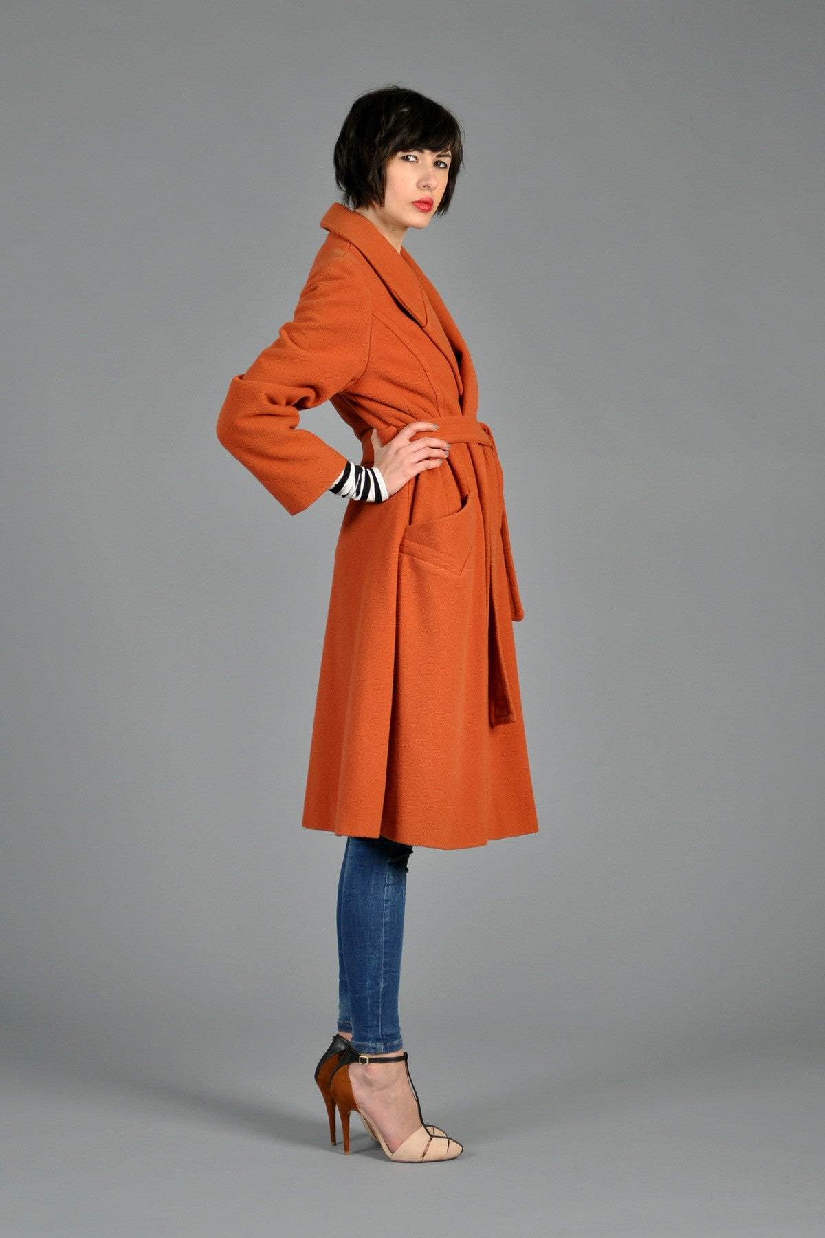 70s Orange Wool Belted Wrap Coat Bustown Modern