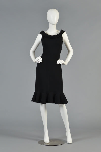 Sexy Architectural 80s Oscar de la Renta Little Black Dress