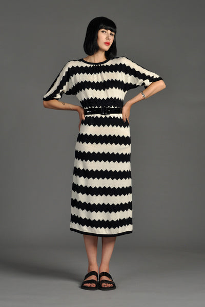 Oscar de la Renta Zig Zag Stripe Knit Dress