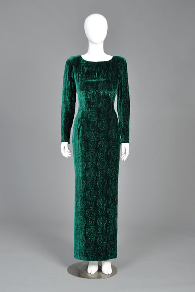Oscar de la Renta Pleated Train Deco Velvet Maxi Dress