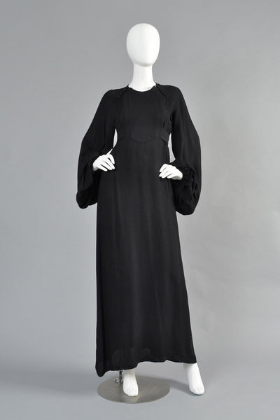 Ossie Clark Moss Crepe Blouson Sleeve Evening Gown