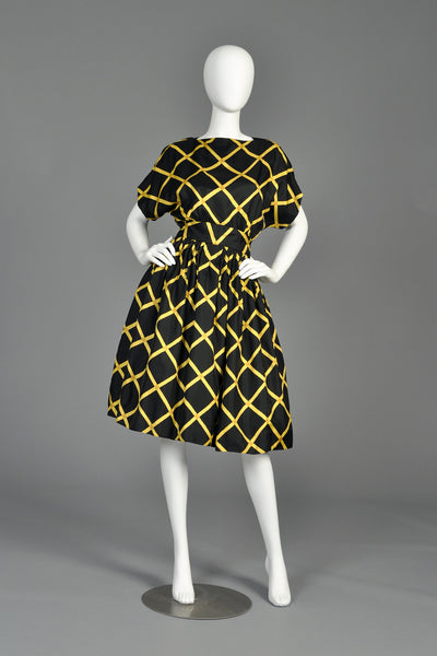 1960s Pauline Trigere Graphic Silk Party Dress