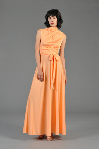 1970s Shrimp Colored Wrapped Up Maxi Dress