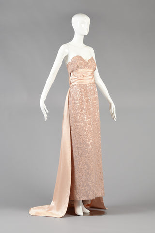 c 1952 Pierre Balmain Demi Couture Lace Evening Gown w/Train