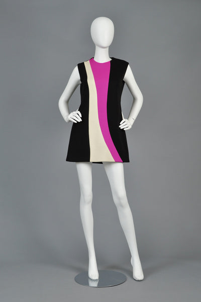 Pierre Cardin 1960s Color Blocked Tunic Dress
