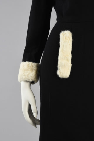 Rare 1950s Pierre Cardin Wool + Ermine Fur Dress