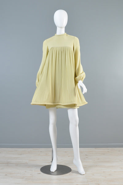 c.1967 Pierre Cardin Pleated Babydoll Dress
