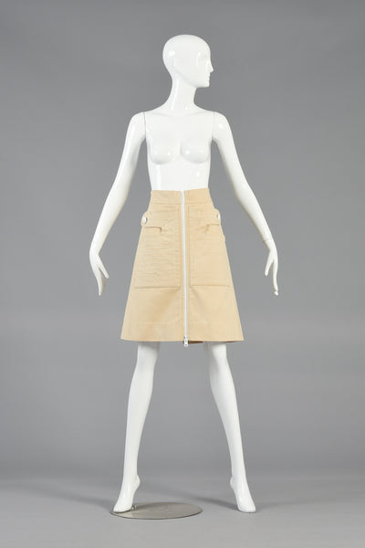 Pierre Cardin 1960s Zip Front Space Age Skirt