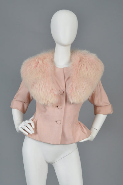 1950s Silk Jacket with Pink Fox Fur Collar