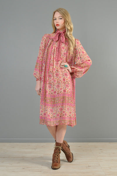 Blouson Sleeved 1970s Indian Silk Ascot Dress