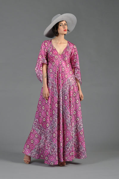 1970s 100% Silk Indian Maxi Dress with Angel Sleeves