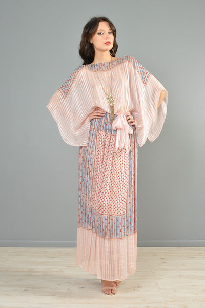 1970s 100% Silk Ultra Draped Kimono-Sleeved Bohemian Gown