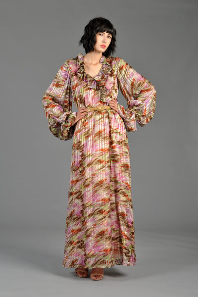 Sheer Blouson Sleeved Brushstroke Silk Maxi Gown