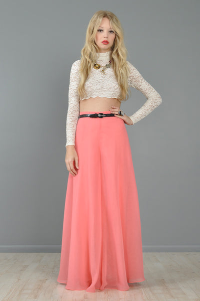 Salmon Chiffon High Waisted Palazzo Pants