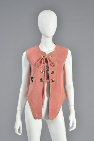 60s Samuel Robert Corseted Rose Colored Suede Vest Top