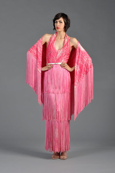 Splatter Painted 1970s Tiered Fringe Maxi Dress w/Shawl
