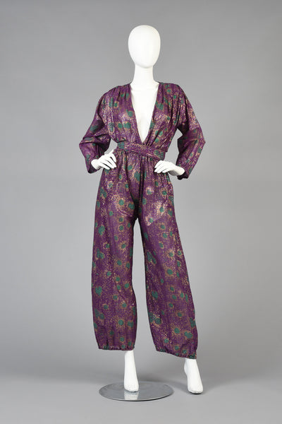 1970s Indian Jumpsuit with Metallic Painted Florals