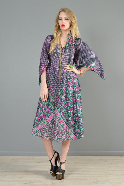 1970s Silk Angel Sleeve Indian Tent Dress