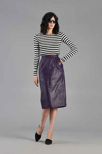 1980s High Waisted Purple Leather Skirt