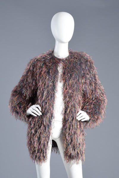 Hand Knit Shaggy Wool Fringed String Jacket