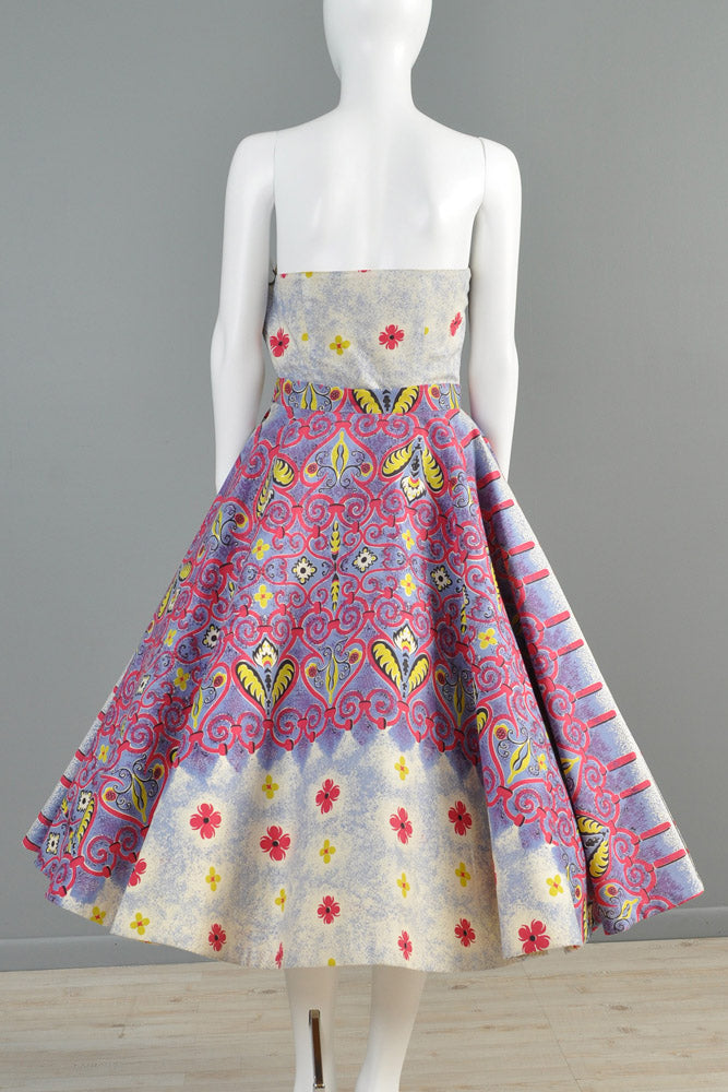 1950s 2pc Ethnic Full Circle Patio Dress Bustown Modern