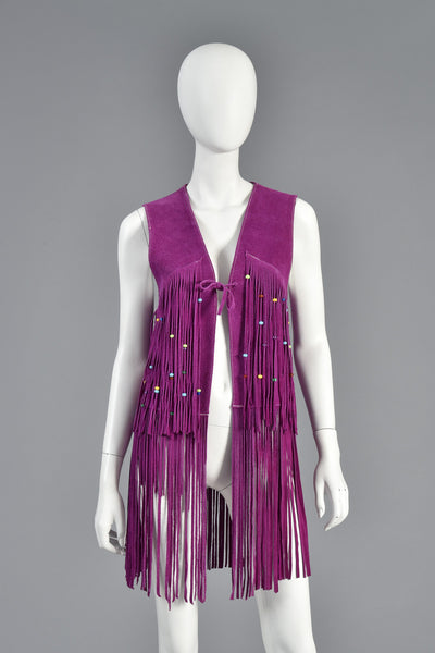 Rare 1960s Beaded Violet Suede Leather Fringed Vest